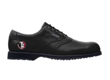 Black Florida State golf shoe with noles logo on this standard men's design with rubber cleats.