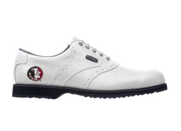 Florida State golf shoe for women that is white and size 8 with a classic design and a Footjoy logo.