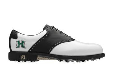 UH Rainbows golf shoe with standard black and white design on men's size 11 shoe with green logo and black laces.