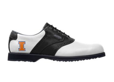 Illini golf shoe traditional men's design size 12 with black and white style and orange U of I logo.