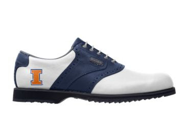 Blue, white, and orange Illinois golf shoe for women size 8 with school logo, white laces, and cleats on the bottom with a white front toe area and logo near the heel.