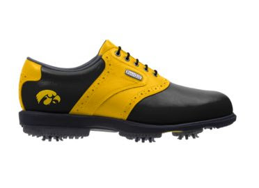 Black and gold University of Iowa golf shoe with a Hawkeye gold logo on a black background with rubber cleats and black shoelaces on this men's size 11 shoe.