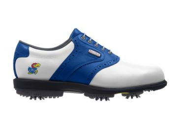 KU Jayhawks golf shoe with Baby Jay near the arch support of this ladies shoe size 7 with large rubber cleats and a blue style with a Footjoy logo.