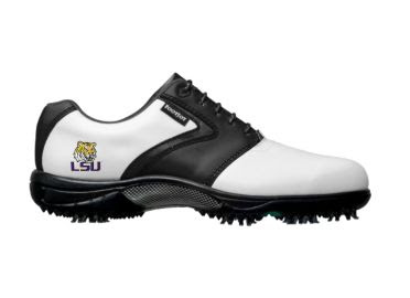 LSU Tigers golf shoe for men size 12 with Tiger logo above heel on sporty looking Footjoy product with label and white design with black accents.