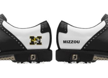 University of Missouri golf shoes with one Tigers logo and one MIZZOU logo on a white background with black trim.