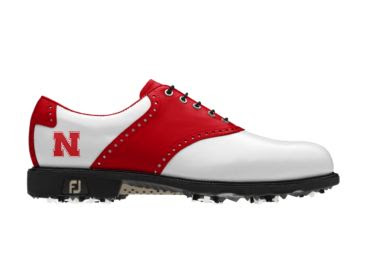 Red University of Nebraska golf shoe with cleats and letter N logo on women's size 8 shoe with padded heel area.