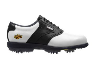 OSU golf shoe in men's size 12 that is white and black with an orange OSU logo near the arch.