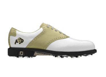U of Colorado golf shoe that is black, white, and gold with a Buffaloes logo on the heel of this lady's shoe.