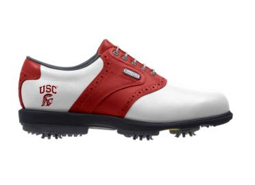 USC Trojans golf shoe that is red and white with a SC logo on the heel above the large black plastic spikes.