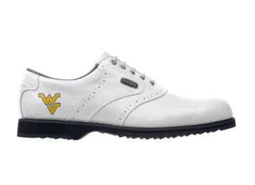 West Virginia Mountaineers golf shoe that is white traditional style for Footjoy with a school logo on the side and black soles.