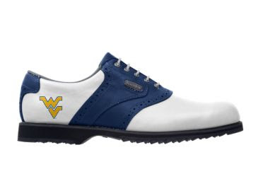 WVU golf shoe that is white with blue stripe and gold college logo on the side of Footjoy product.