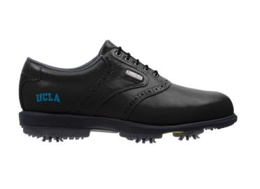 UC Los Angeles golf shoe that is black with a blue logo on the side that reads UCLA.