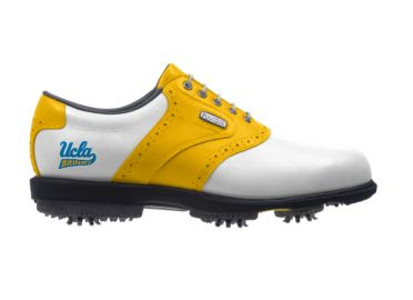 Gold UCLA golf shoe that is white and yellow with a blue school logo on the side above the black rubber sole on this men's size 10.