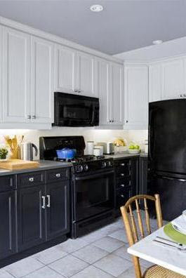 Black Bottom And White Top Kitchen Cabinets alkemie: an attic inspiration filled with color & a dine in kitchen