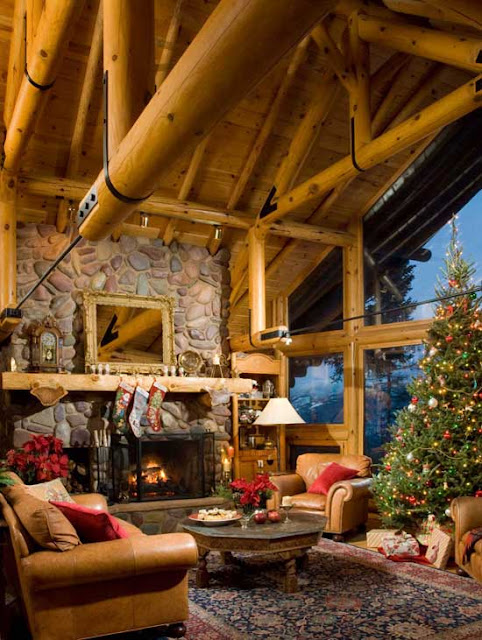 Alkemie a white christmas in a gorgeous montana log home for Beautiful homes decorated for christmas