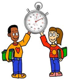 Two students holding a timer to illustrate Mr. Needleman's fluency timer
