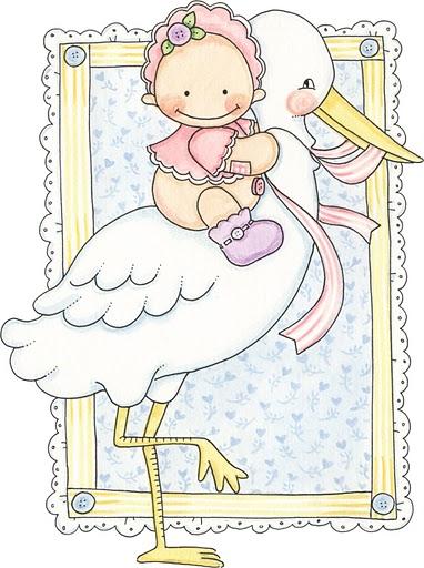 Imágenes de bebes para imprimir; Imagen de bebe con cigüeña