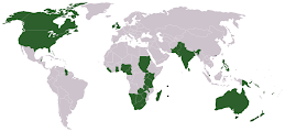 ENGLISH SPEAKING COUNTRIES-in green