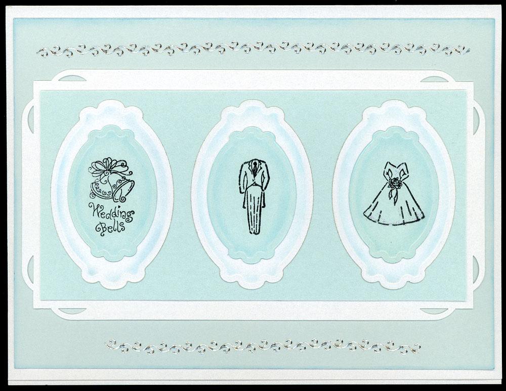 Wedding Card Using Spellbinders Frames Rubber Stamps