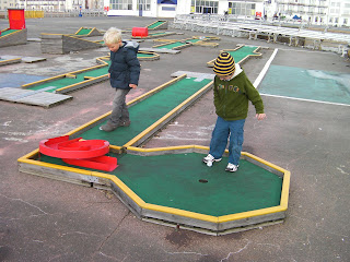 playing crazy golf out of season, using your feet