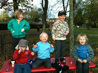 the gang of five. park bench