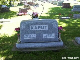 kaput gravestone in grey granite