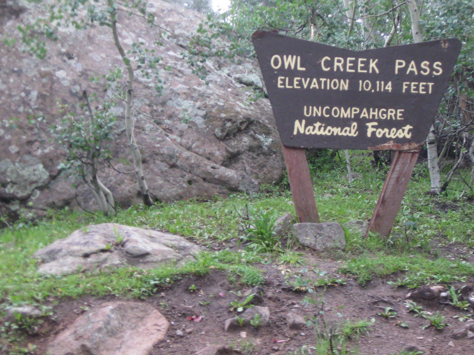 Gary and mary aug 8 owl creek pass for Owl creek