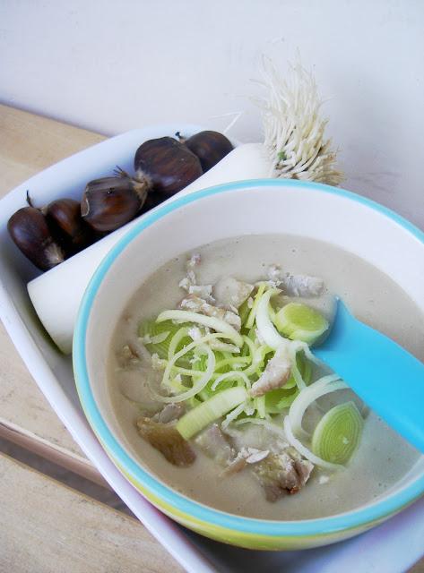 zuppa di porri, patate e castagne