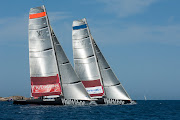 Emirates Team New Zealand racing against Synergy on Day 5 off La Maddalena. (cc )