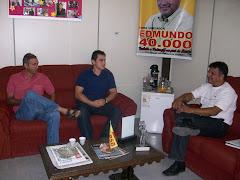 Vereador Edmundo da Rosa em reunião com Renato Quines e André Oliveira