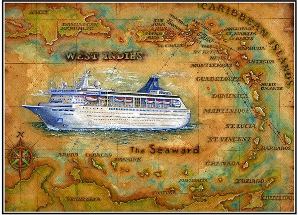 Painted Vintage Cruise Ship Itinerary Maps By Artist Robert Hummel April 2009