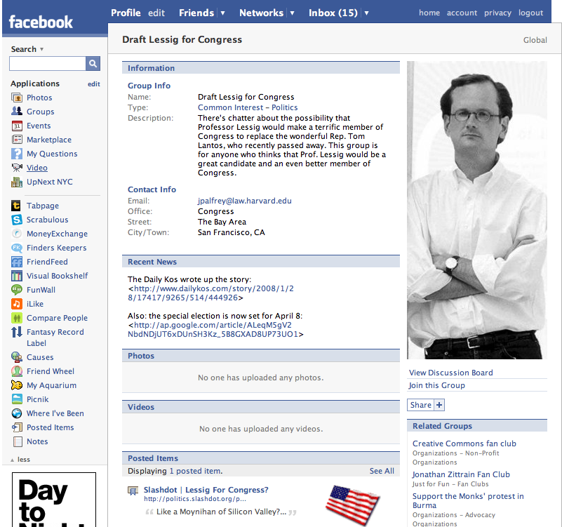 Facebook screenshot of Lessig for congress group
