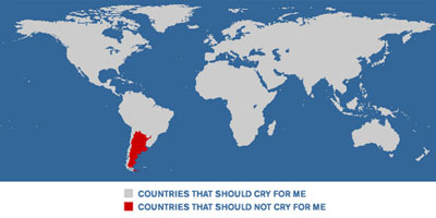 shaded map: nations that should cry for me and nations that shouldn't cry for me