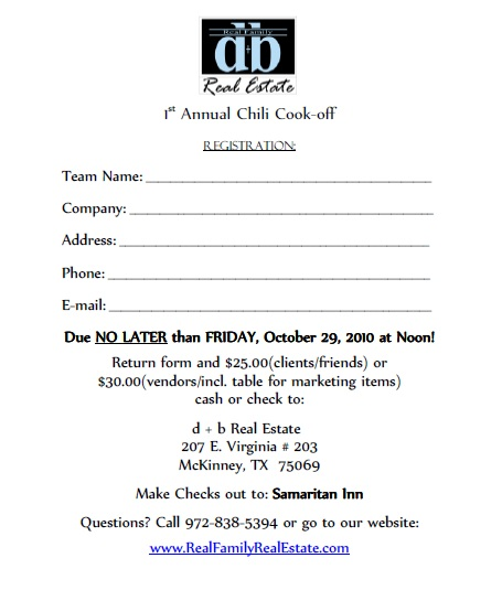 d + b real estate: 1st Annual Chili Cook-Off Fundraising Event