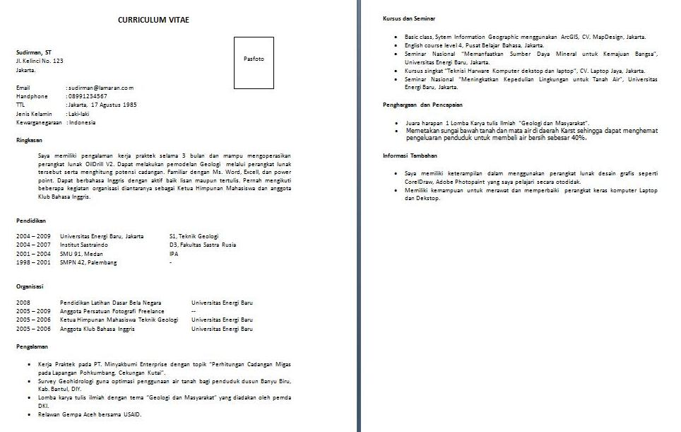 resume format  format resume kerja download