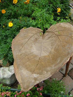 leaf embossed bird bath