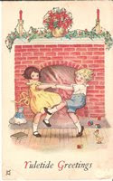 vintage christmas card graphic, kids and fireplace with stockings