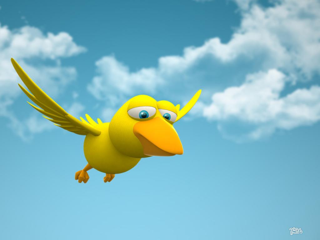 зD птица