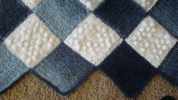 Crafts By Starlight Crochet Afghan Denim Diamonds