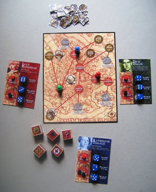 3 player game in progress showing all components - Cuisine En Rkham
