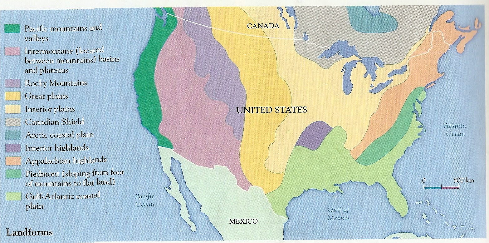 USA Physical Features - Physical features of canada and the united states