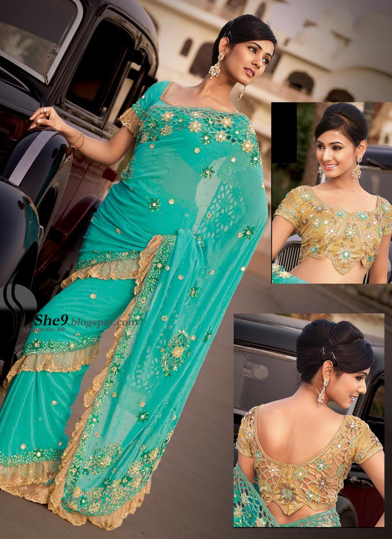 Latest Saree Fashion 2010 Double Blouse Sarees She9 Change The Life Style