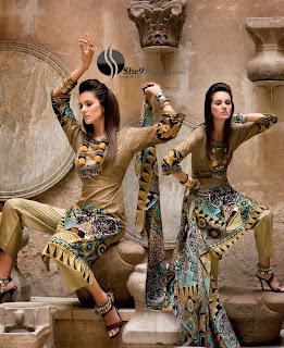 Gul+Ahmed+Stylish+Design+www.She9.blogspot.com+%283%29 More v neck and round neck shalwar kameez styles from Gul Ahmad