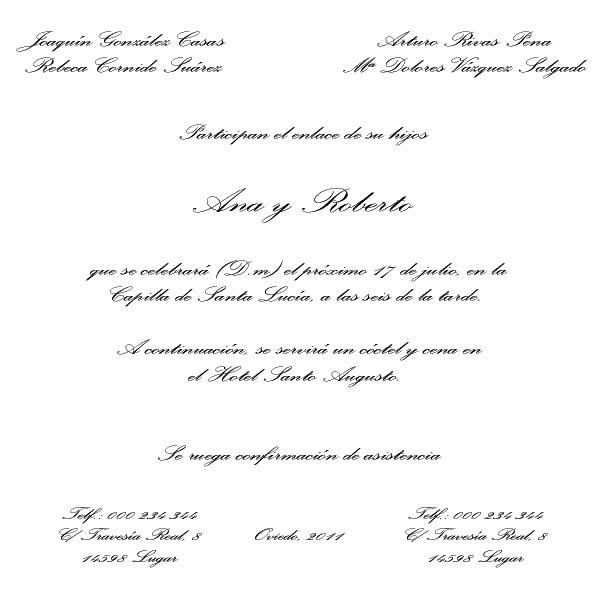 El taller de Sabela: Tipos de texto para la invitación de boda