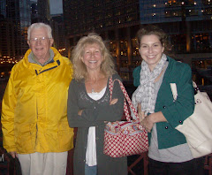 Fred, Mary and Kyra on the bridge over the Chicago River