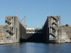 The lift of the Whitten Lock is 85 feet! This is how it looked as we left. It was a long way down!