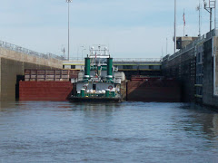 A tow, ( tugboat)  pushing 9 barges into a lock.  Maybe 3 extra feet on each side? Some skill!