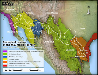 this map depicts ecological regions around the united states and mexico border this map can be found on the usgs website at