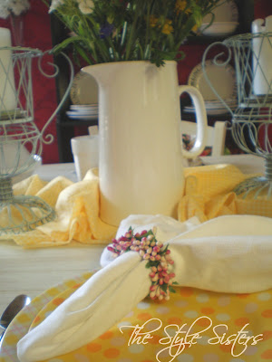 Bella cucina dishes, polka dot plates, Doris day yellow tablescape