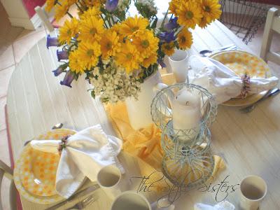 Doris day luncheon, yellow tablescape, polka dot plates